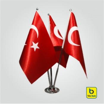 Türk Bayraklı Üçlü Masa Bayrağı