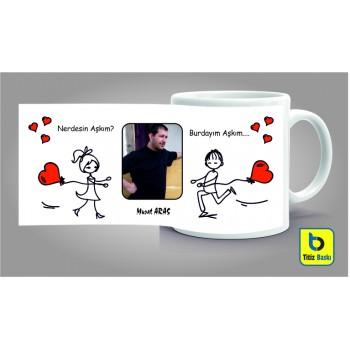 Nerdesin Aşkım Burdayım Aşkım Kupa Bardağı