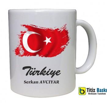 Türk Bayrağı Baskılı Kupa Bardak