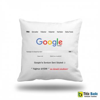 Google Beyaz Kare Yastık