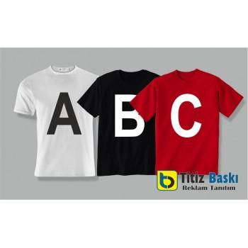 Alfabe Yazıları Baskılı Tişört