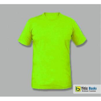 Fıstık Yeşil Bisiklet Yaka T-shirt
