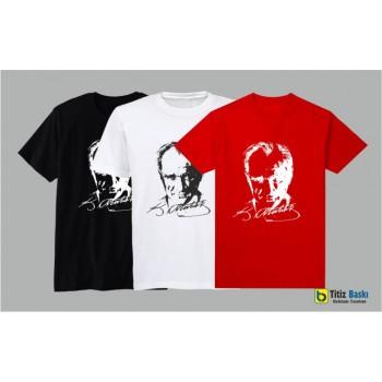 Atatürk Resimli İmzalı Tişört