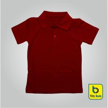 Bordo Lacoste Çocuk Tişörtu