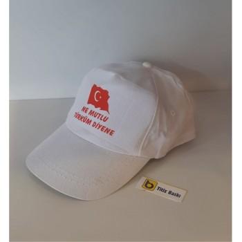 Türk Bayrak Baskılı Beyaz Şapka