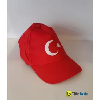 Türk Bayrağı Baskılı Kırmızı Şapka